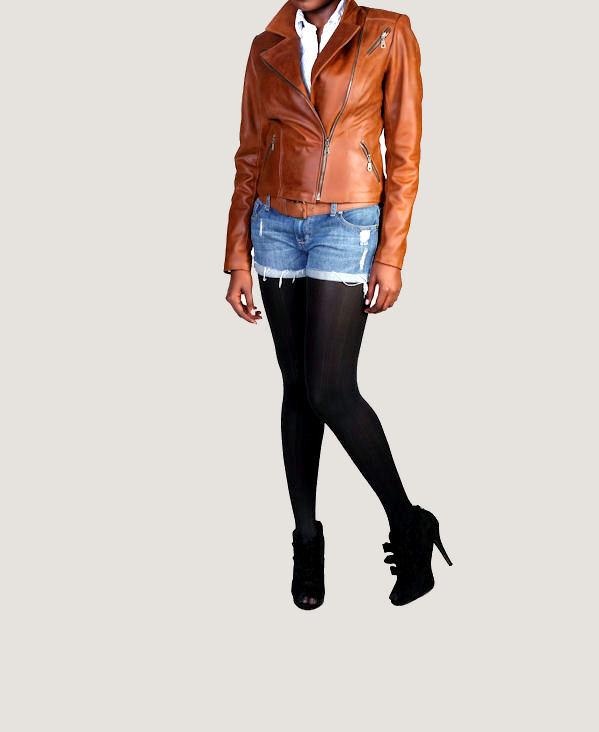 The Cognac Emmanuelle Leather Motorcycle Jacket