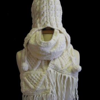 The Beige Joelle Winter Hat and Scarf Set